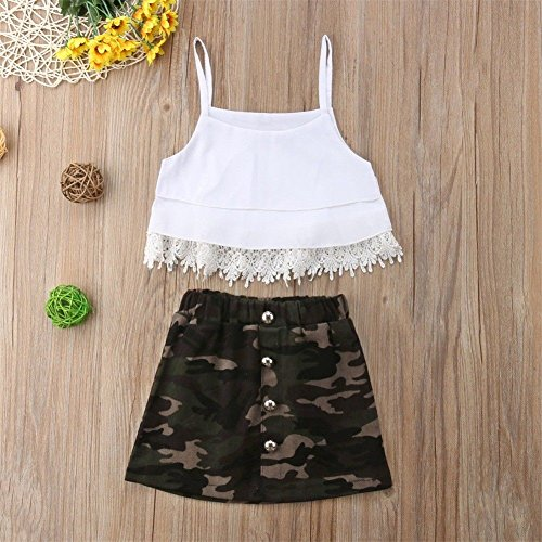 4e2fea68a5 2Pcs Toddler Baby Girls Clothing Lace Tassels Strap Crop Top+Camouflage  Skirt Dress Outfits Clothes