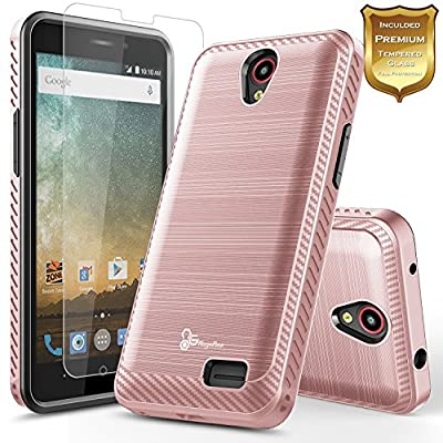 ZTE Maven 3 Case, ZTE Overture 3 Case, ZTE Prelude Plus (4G LTE), ZTE Prestige 2 Case w/ [Tempered Glass Screen Protector], NageBee [Carbon Fiber Brushed] [Dual Layer] Protector Hybrid Case from NageBee