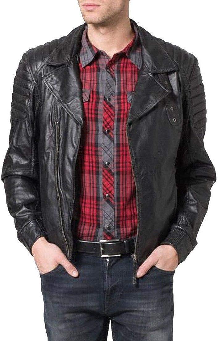 brandMe Mens Genuine Leather Pure Lambskin Biker Jacket MM207