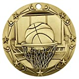 Gold WORLD CLASS BASKETBALL MEDAL - 3' Wide Strong Metal - Customize Now - Personalized Engraved Plate Included & Attached to Medal - Comes with Stars & Stripes American Flag V-Neck Ribbon