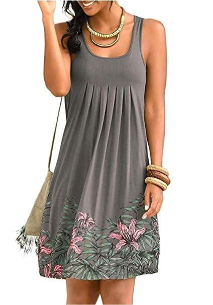 High Fashion am besten kaufen verkauf uk ZIYYOOHY Damen Sommerkleid A-Linie Ärmellos Knielang Tunikakleid Freizeit  Strandtunika Strand