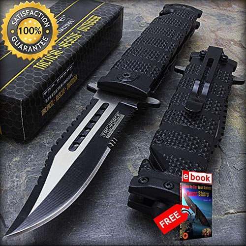 10 x 8.5'' TAC FORCE SPRING ASSISTED TACTICAL FOLDING POCKET KNIFE Wholesale Lot Combat Tactical Knife + eBOOK by Moon Knives