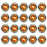 """20 Clear/Amber LED Clearance Marker Lights 3/4"""" Trailer Bright Stainless Steel"""