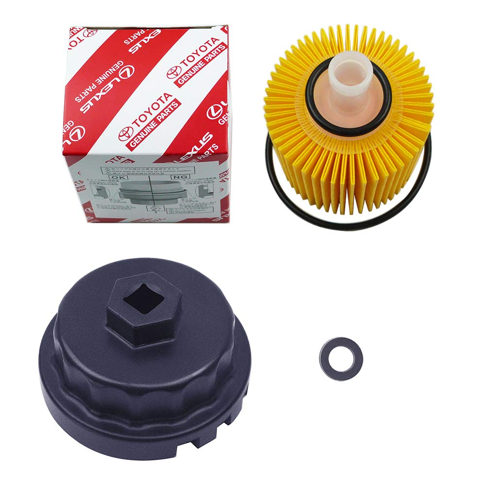 Genuine Oil Filter with Wrench for Toyota, Lexus , RAV4, Camry, Tundra, Highlander, Sienna and More,Oil Drain Plug Gasket Washers, Oil Filter Housing Cap Removal Tool Set for Oil Change and Oil Drain by Ibetter (Image #3)