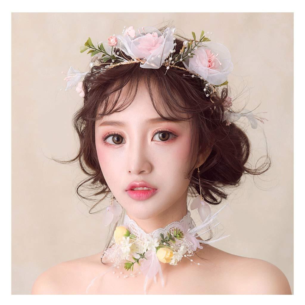 Wreath Flower Bride Tiara Senxian Hairdressing Wedding Dress Jewelry Accessories (Color : C)