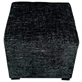 4 Foot Square Ottoman MJL Furniture Designs Merton Collection, Fabric Upholstered Modern Cube Foot Rest Ottoman with 4 Button Tufting, Atlas Series, Midnight