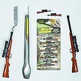 Gibson Bolt Action Rifle BBQ Tool Set - 4 Pc (Tongs, Lighter, Spatula & Corn Holders)