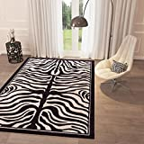 "Cheap Black and White Grey Zebra Print Area Rug 3'3"" x 5′ Casual Modern Rug for Dining Living Room Bedroom Easy Clean Carpet"