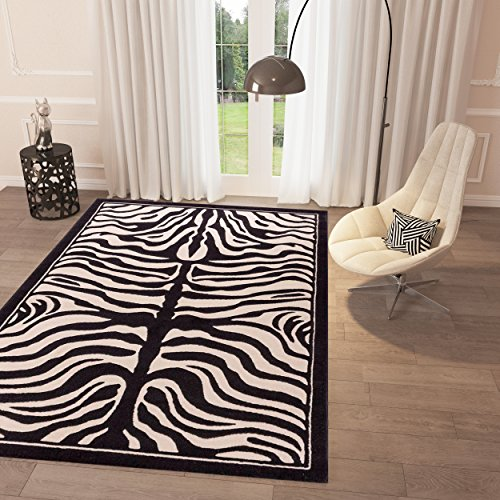 Black and White Grey Zebra Print Area Rug 3'3'' x 5' Casual Modern Rug for Dining Living Room Bedroom Easy Clean (Zebra Black Area Rug)