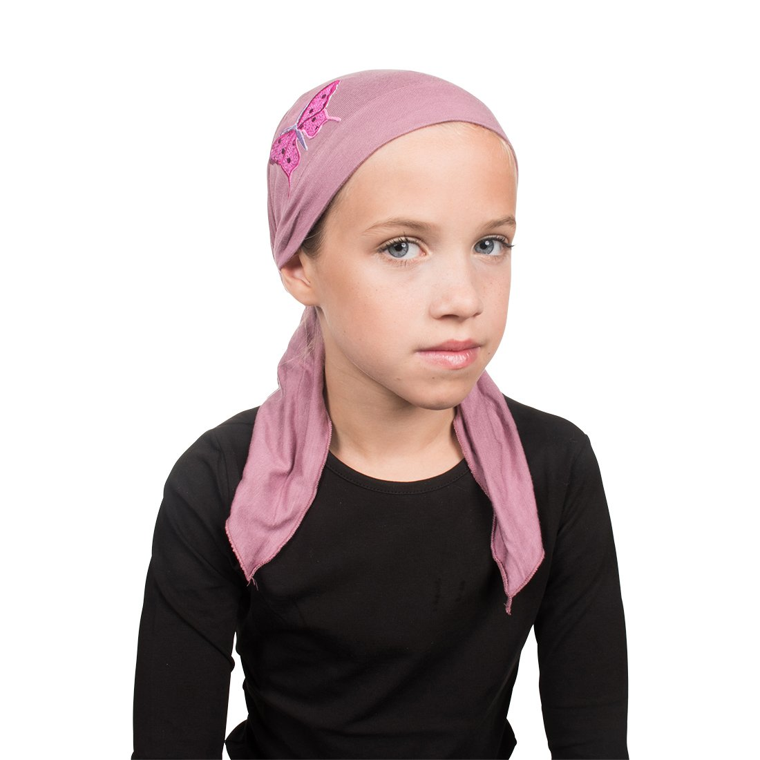 Sequin Butterfly Applique on Child's Pretied Head Scarf Cancer Cap - Rose