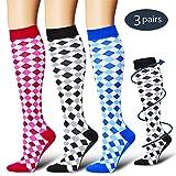 Bluemaple Compression Socks for Men & Women - Best for Running,Medical,Athletic Sports,Flight Travel, Pregnancy(Assort1-3pack-S/M)