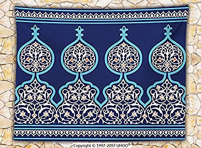 Moroccan Fleece Throw Blanket Decor Bohemian Style Old Middle Eastern Turkish Figures Mystical Ornamental Image Print Throw Royal Blue