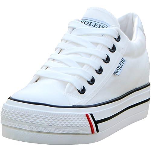 qualité supérieure professionnel de la vente à chaud le magasin wealsex Basket Mode Toile Plate Femme Plateforme Semelle Epaisse Chaussure  Tennis Confort Sneakers Basse