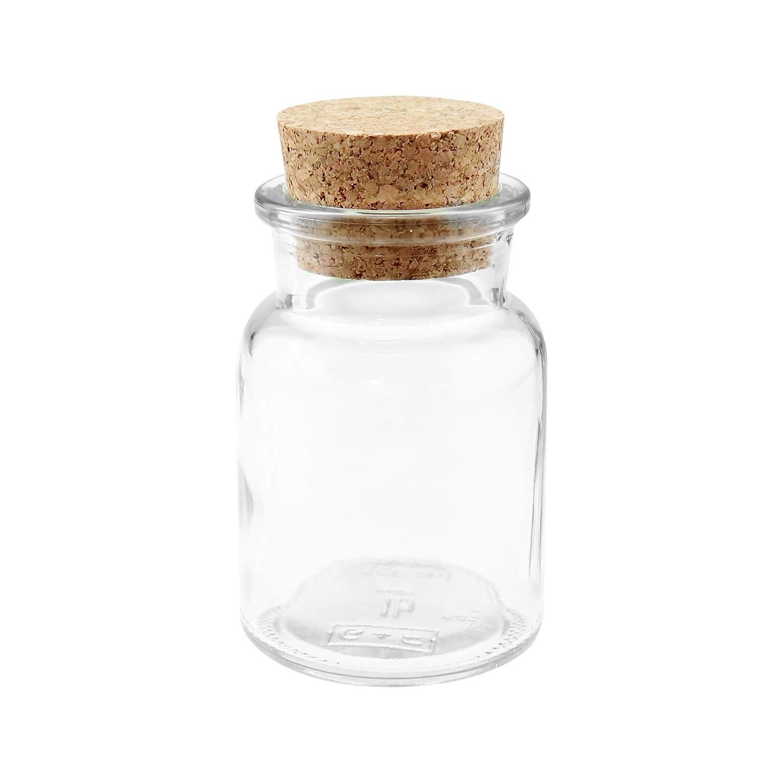 WELLGRO/® Lot de 24 pots /à /épices avec bouchon en li/ège 150 ml 6 x 10 cm verres fabriqu/és en Allemagne /Ø x H