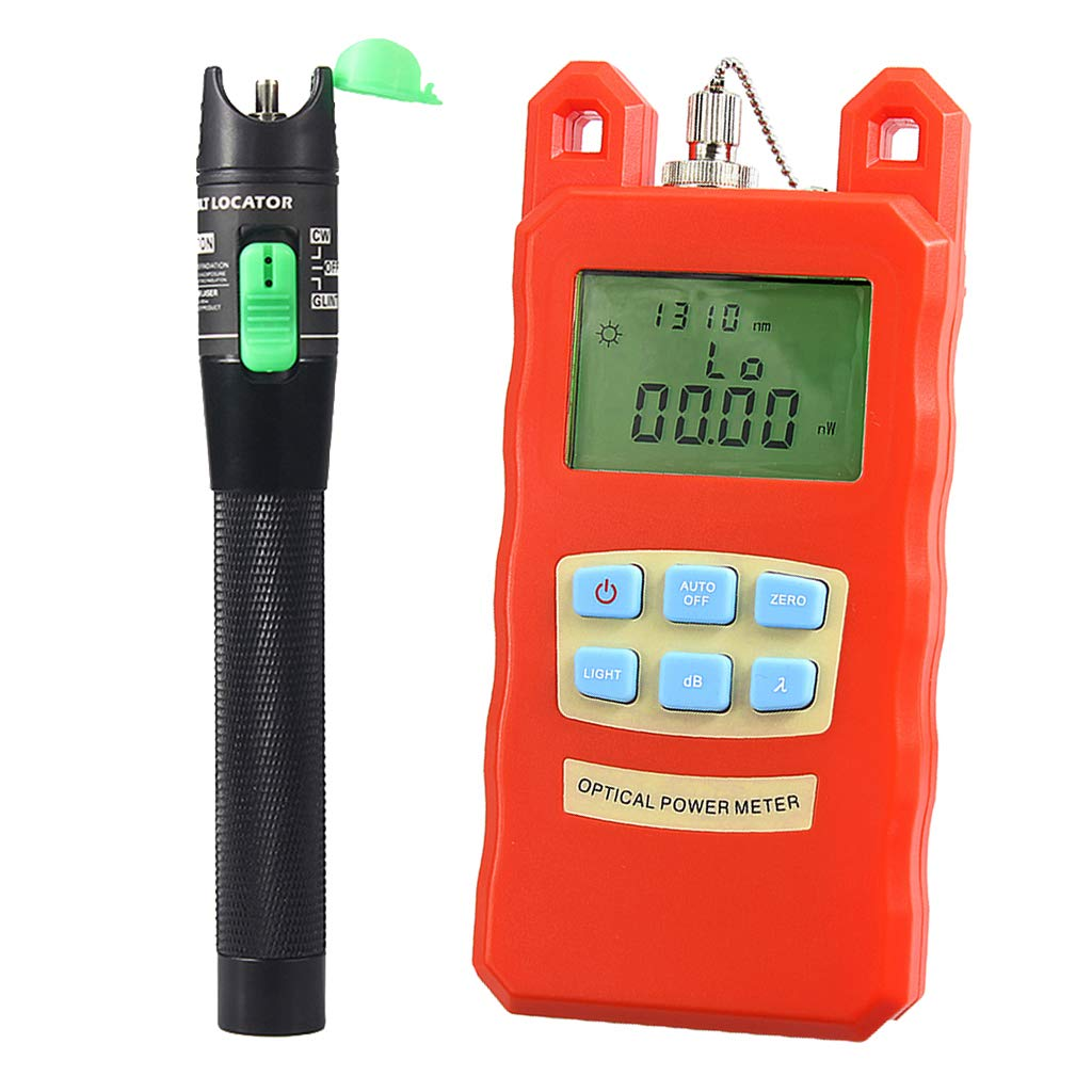 SM SunniMix Pack -70dBm~+10dBm 850~1625nm Optical Power Meter Tester FC SC Handheld Optical Power Meter + 20mW Visual Fault Locator Pen