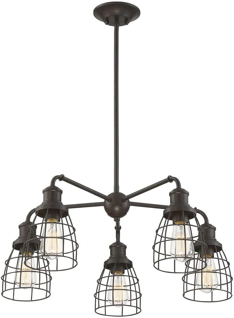 Trade Winds Lighting TW10053ORB 5 Light Vintage Industrial Hanging Cage Pendant Chandelier with Metal Wire Shades, 60 Watts, in Oil Rubbed Bronze
