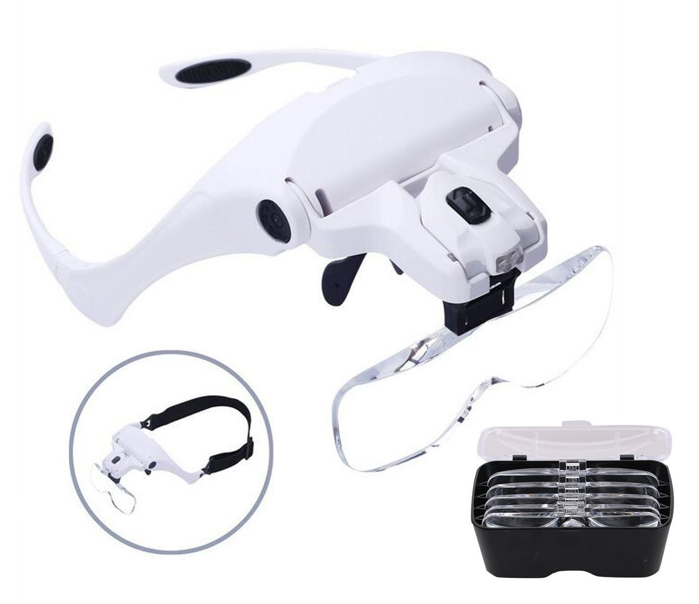 Headband Magnifier Bracket and Headband interchangeable with 2 LED Light 5 Replaceable Lenses for Reading,Jewelry Loupe, Watch Electronic Repair(1.0X, 1.5X, 2.0X, 2.5X, 3.5X)