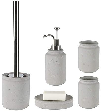 spirella Keramik WC Bürste Zahnputzbecher Seifenspender Badset Klobürste Schwarz