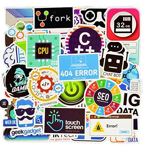 Honch Vinyl Developer Programming Stickers Pack 50 Pcs C++ Stickers App Decals for Laptop Ipad Car Luggage Water Bottle Helmet