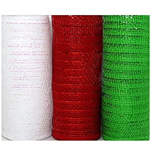 Christmas Decorative Mesh Rolls for Crafting Wreaths, Centerpieces, Displays, Table Drape and More, 5 Yards (3 Rolls, Red/White/Green)