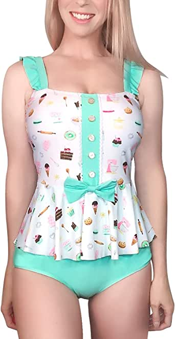 LittleForBig Modest Kawaii One Piece Swimwear Bathing Suit Swimsuit - Vintage Rose and Sweets
