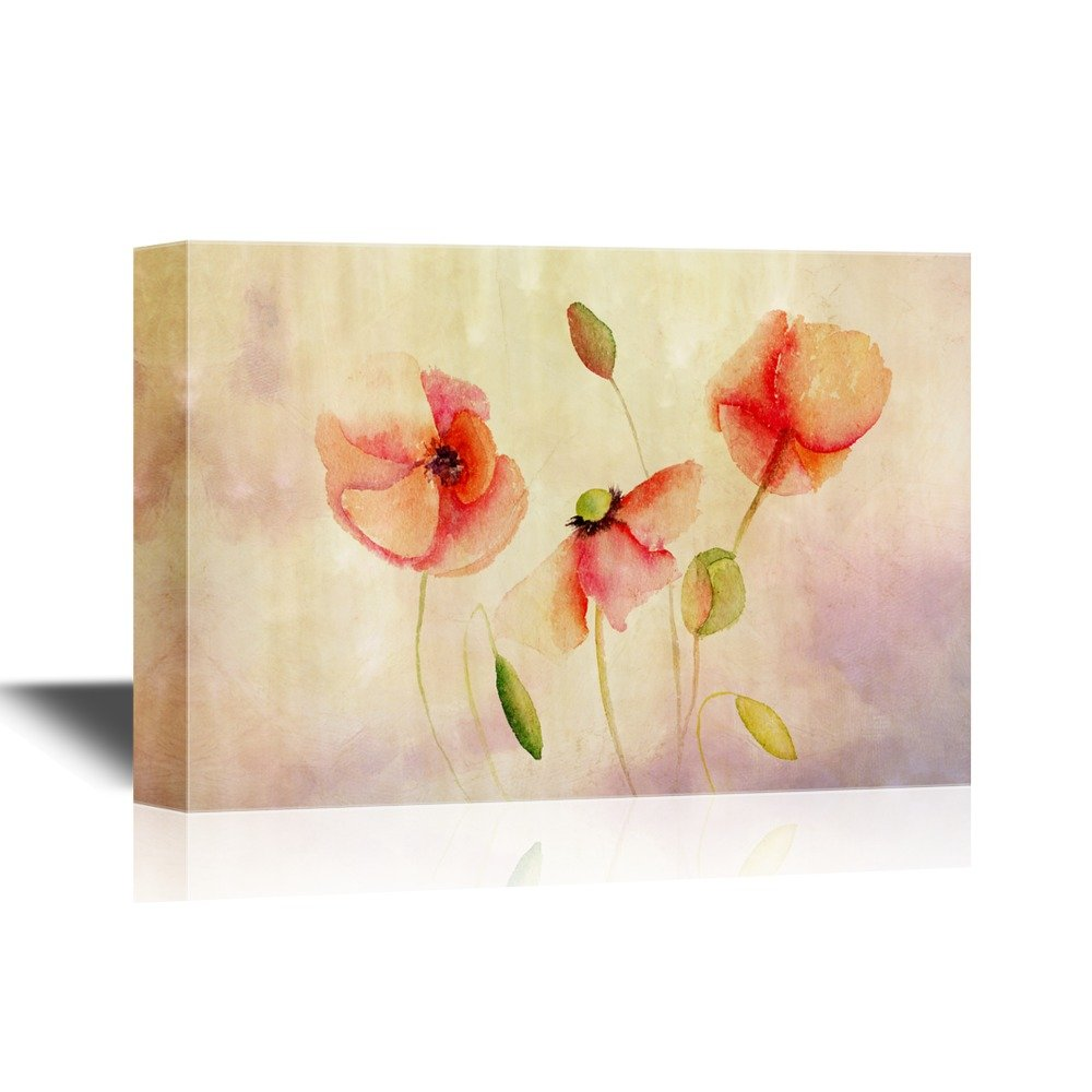 Beautiful Poppy Flowers Watercolor Painting Canvas Art Wall26