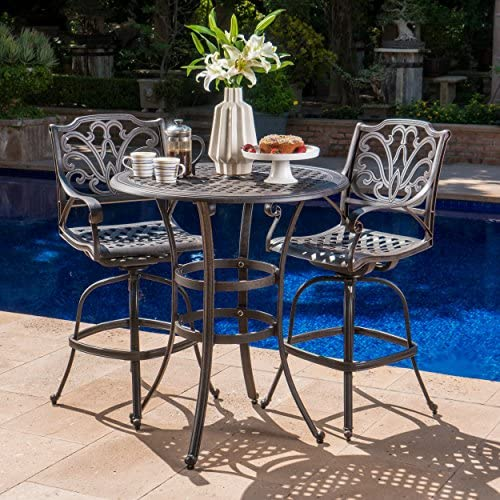 Christopher Knight Home 302243 Calandra Outdoor 3 Piece 37 Inch Bronze Cast Aluminum Bar Set, Grey