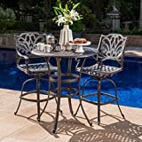 Cheap Calandra Outdoor 3 Piece 37 Inch Bronze Cast Aluminum Bar Set