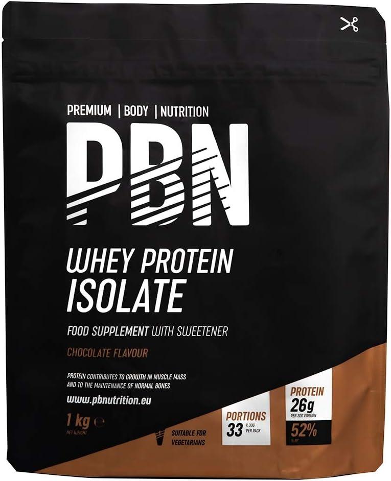 PBN - Premium Body Nutrition - Aislado de proteína de suero de leche en polvo (Whey-ISOLATE), 1 kg, sabor chocolate (33 porciones)
