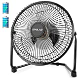 OPOLAR Battery Operated and USB Powered Rechargeable Desk Fan with Two Batteries 9 inch Metal Frame Enhanced Airflow Lower Noise Two Speeds Personal Cooling Fan for Home & Office