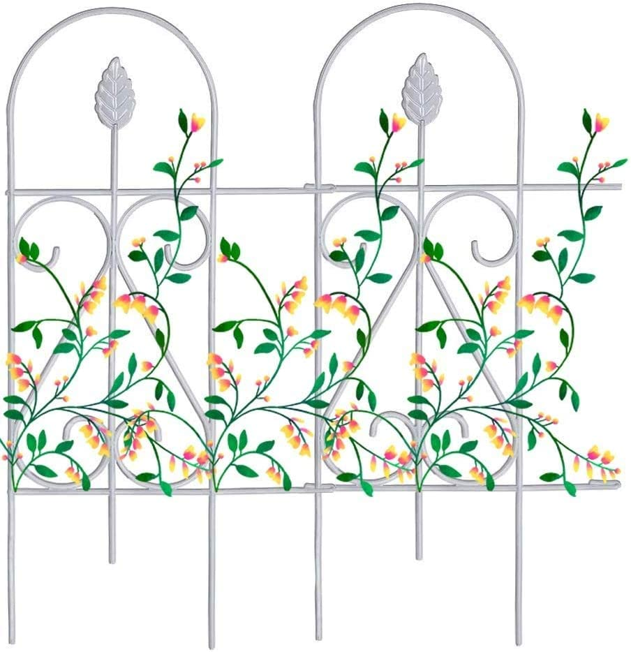 "Mr.Garden Edging Fence Metal Decorative Garden Barrier Panels 9PACK 15""x32"", Dog Outdoor Fence, Coated Folding Border Fences for Garden Patio Tree Ring, White (Without Decorative Flowers)"