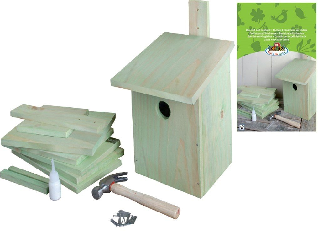 Esschert design KG52 24 x 22 x 17cm Children's Wood Set of Building Bird House - Natural
