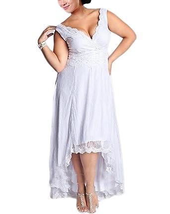 Huati Womens Plus Size High Low V Neck Lace Appliques Wedding Dress