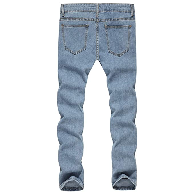 d2f1c19c3e7ac Rawdah Pantalones Hombre Agujero de Hombres Escalera Dril de algodón  Algodón Vintage Wash Hip Hop Pantalones de Trabajo Pantalones Vaqueros  Pantalones ...