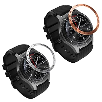MoKo 2 PZS Anillo de Bisel Compatible con Samsung Gear S3/Galaxy Watch 46mm, Smart Watch Bisel Cubierta Adhesiva de Acero Inoxidable Antiarañazos ...