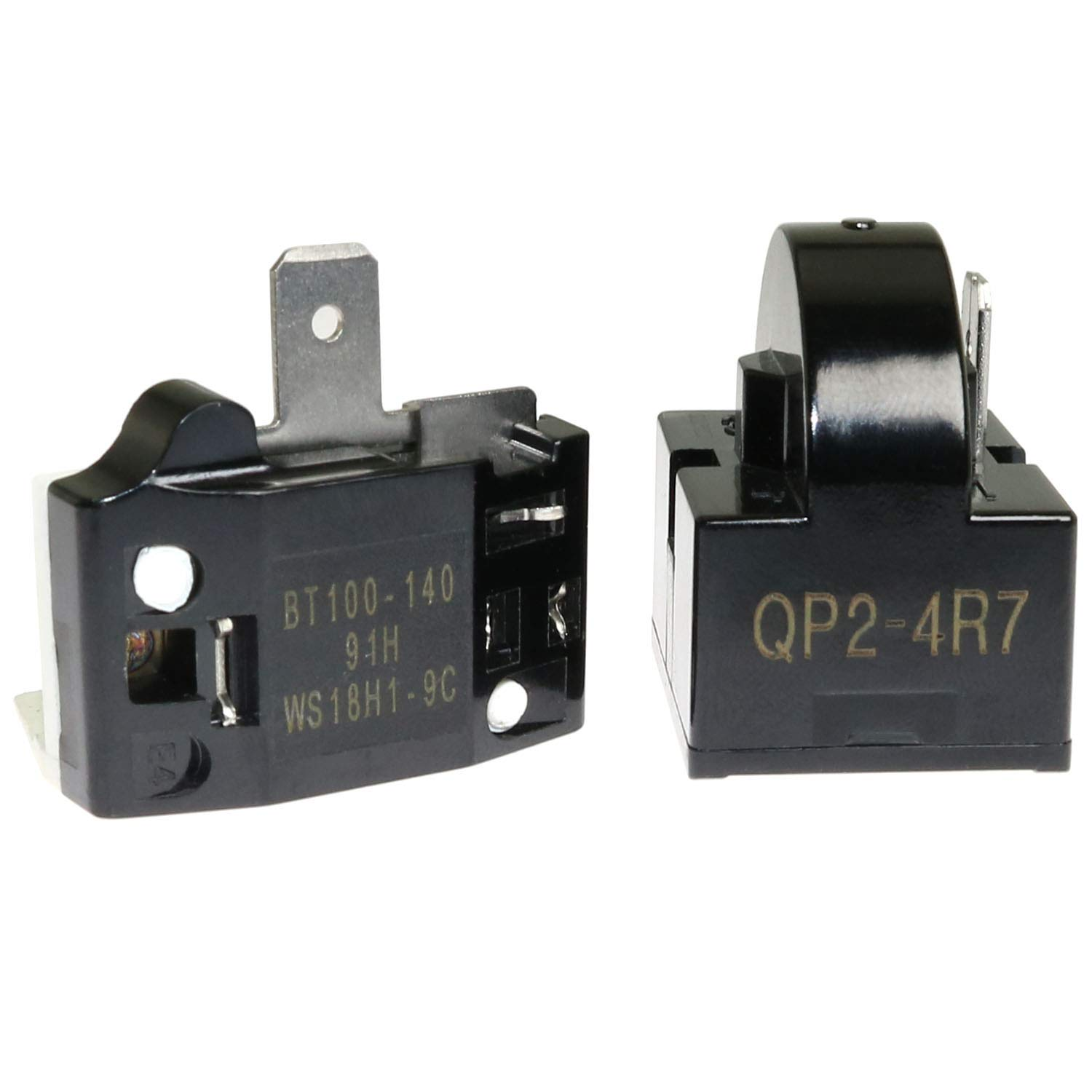 ToToT 1pcs QP-02-4.7 PTC Refrigerator Start Relay 1 Pin Coolers Compressor Starter 4.7 ohm with 1pcs Refrigerator Overload Protector 1/2HP