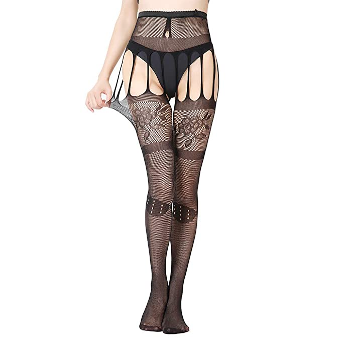 e4f6c728f08 VEZARON 2019 Women Sexy Pantyhose Soft Tights Lingerie Silk Stockings  Erotic Bodysuit Thigh Garter Belt Lace (Black) at Amazon Women s Clothing  store