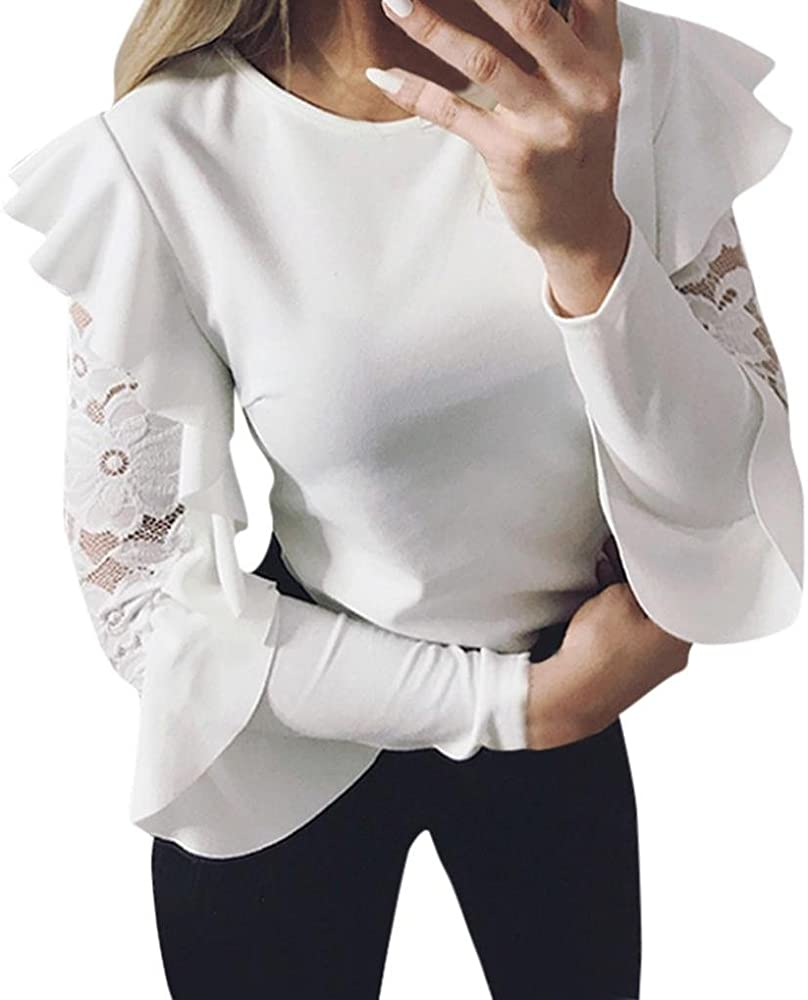 Primavera Camiseta para Mujer, Moda Color Sólido Patchwork de Encaje Blusa Elegante Cuello Redondo Manga Larga T-Shirt Casual Slim Camisa Otoño Blusa Top S-XL: Amazon.es: Ropa y accesorios
