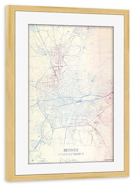 Artboxone Framed Poster Pine Wood 30x20 Cm Rennes France Map Rose