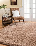 NaturalAreaRugs Cerdena Collection Polyester Shag Area Rug, Durable, Luxurious, Soft, Cotton & Polyester Mixed Canvas, Eco-Friendly, Wheat Color (5 Feet X 8 Feet) + Bonus Rug Pad