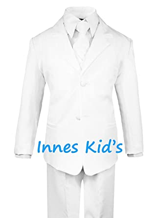 Amazon.com: Traje para niños de color blanco con chaleco y ...