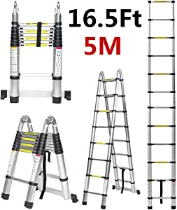 KINGSO Telescoping Ladder 16.5 FT Aluminum Extention Ladder, ONE-Button RETRACTION Portable Ladder ANSI Certified Extendable Ladder with Spring Loaded Locking Mechanism, 330 Pound Capacity