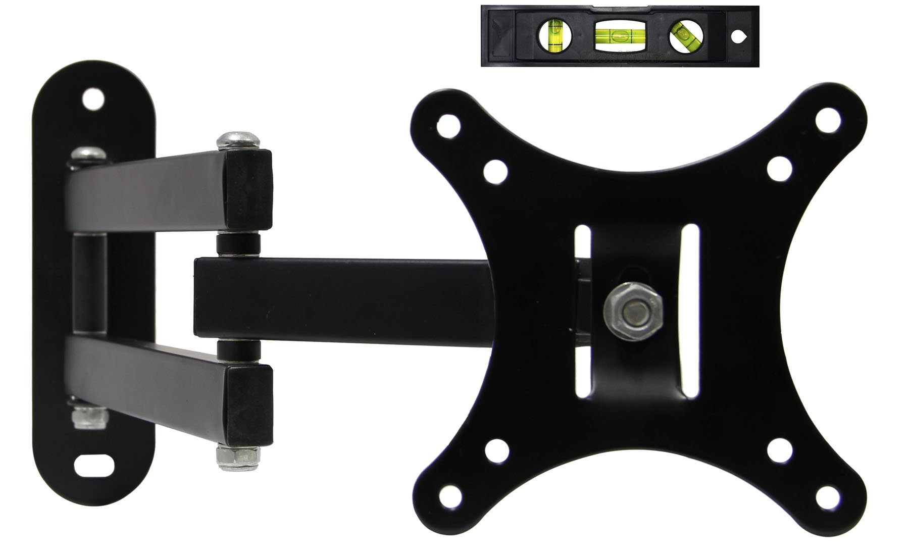 EASYGOING Full Motion Articulating Swivel Tilting Single Flat Screen LCD TV Wall Mount Bracket for 14''-24'' Flat Screen Displays, VESA 75 and 100 Compatible, 40 lb Capacity Black