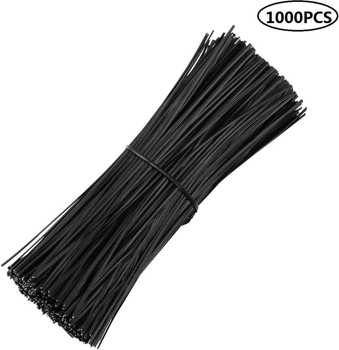 Yardwe 1000 Piezas Negro Lazos de torcedura para jardinería de plástico de 6 Pulgadas Corbata giratoria para Plantas de Vid de Enredadera enrejados de Alambre para Pan Bolsas (Negro 6 Pulgadas)
