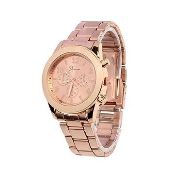 Vovotrade® Clásico de Lujo Mujer Damas Chica Unisex Reloj de Pulsera de Cuarzo de Acero Inoxidable, Rosa de Oro/Dorado/Plateado