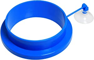 Maxmoral Blue Fish Feeding Ring Aquarium Fish Tank Mariculture Fishes Floating Food Feeder Circle with Suction Cup (Round Shape, Thickened Type)
