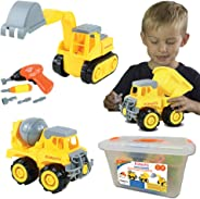 Kidtastic Construction Vehicles, STEM Learning (Set 68 Piece) Take Apart Fun (Pack of 3), Dump Truck, Cement Truck & Digger