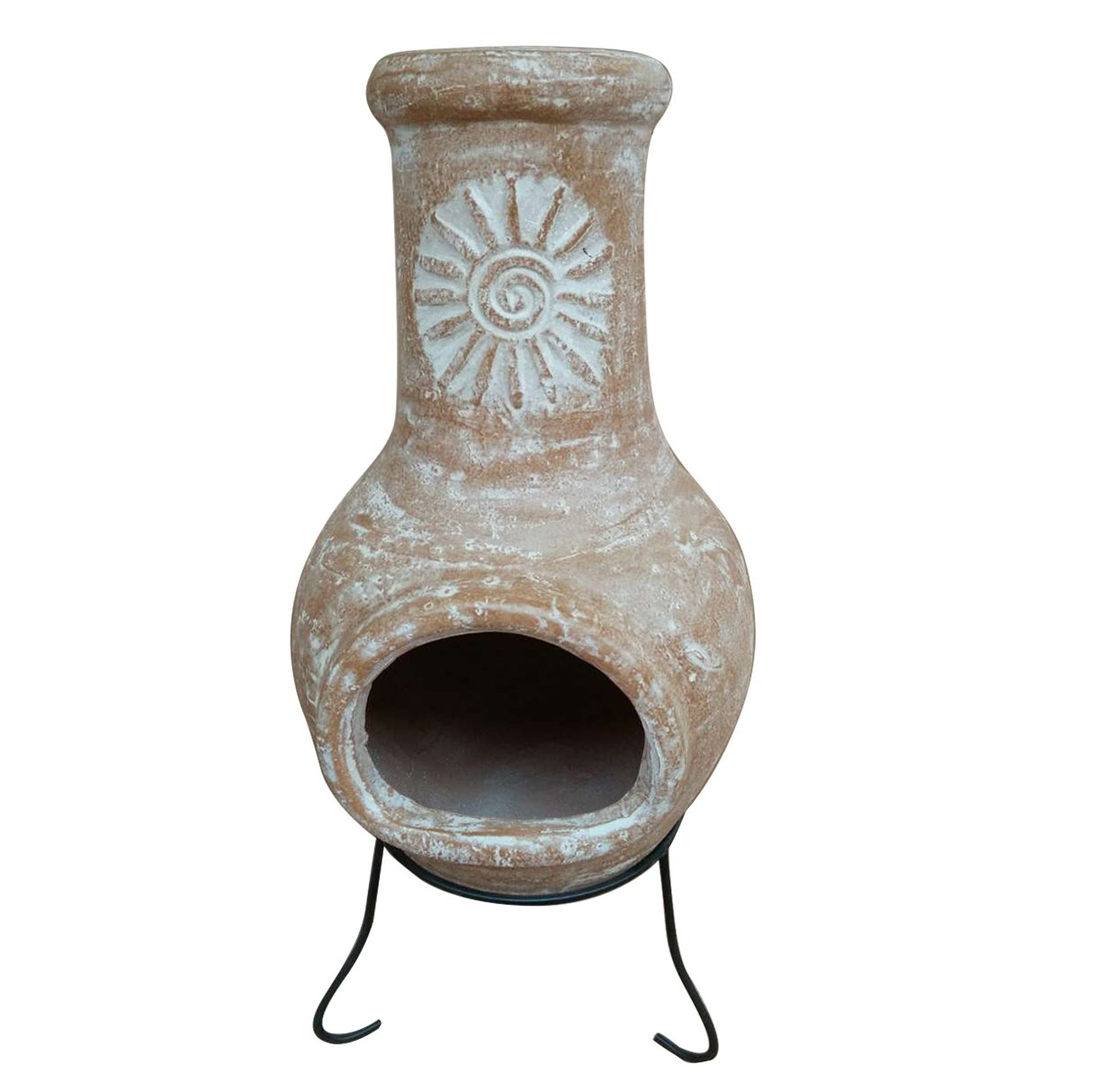 Charles Bentley Garden Outdoor Medium Natural Clay Chiminea Mexican Chiminea Patio Heater