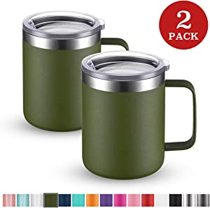Civago Stainless Steel Coffee Mug Cup with Handle, 12 oz Double Wall Vacuum Insulated Tumbler with Lid Travel Friendly (Olive, 2 Pack)