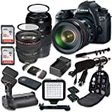 Canon EOS 6D 20.2 MP Full Frame CMOS Digital SLR DSLR Camera with EF 24-105mm f/4 L IS USM Lens + Sigma 70-300mm f/4-5.6 DG Macro + 2pc SanDisk 32GB Memory Cards + Holiday Accessory Bundle